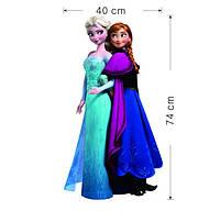Наклейка виниловая Холодное сердце (Frozen) Эльза и Анна 3D декор