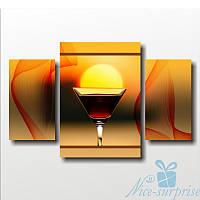 Модульная картина для кухни Солнце в бокале из 3 фрагментов