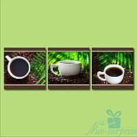 Модульная картина для кухни Чашка кофе и пальмовый лист из 3 фрагментов (110х35)