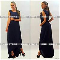 Прямое шифоновое платье в пол