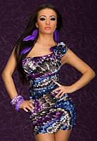 Скидка. Платье на одно плечо с сиреневой цветовой гаммой L2527-2