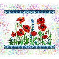 """Флизелин водорастворимый пришивной с рисунком """"Маковое поле"""" Confetti 232"""