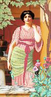 Схема для частичной вышивки бисером Девушка с маками А-518