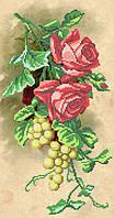 """Схема для частичной вышивки """"Розы и виноград"""" А-556"""