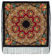 """Многоцветная шаль из уплотненной шерстяной ткани с шелковой бахромой """"Майя"""" рис 372-28"""