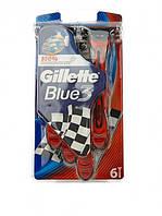 Набор одноразовых станков Gillette Blue 3 RED, 6 шт. Оригинал
