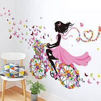 Виниловые наклейки на стены Девочка, бабочки, велосипед