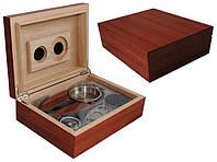 Хьюмидор 600312 для 12 сигар,  светло-коричневый + набор, 24х18х8см