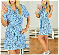 Легкое летнее платье с поясом