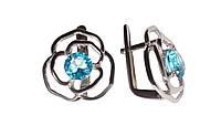 Серебряные серьги Розы с голубым камнем под топаз 33786