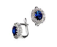 Серебряные серьги овалы с синим камнем под сапфир 33789