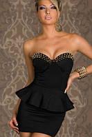 Самая низкая цена. Черное короткое платье с декором из шипов L2660-2