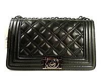 Сумка средняя кожзам женская черная Chanel Boy 2225-3
