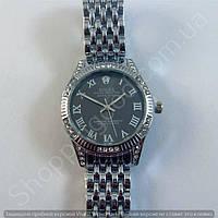 Часы Rolex Oyster Perpetual B15 (113859) женские серебристые с черным циферблатом в стразах римские цифры