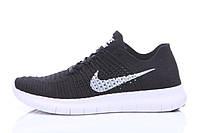 Кроссовки мужские беговые Nike Free Run Flyknit Black White (найк фри ран, оригинал) черные
