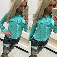 Женская рубашка голубого и розового цвета. Ткань штапель. Размеры S, M. LK 1000
