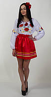 Женская вышиванка с длинным рукавом, с красными маками