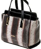 Серая женская сумочка  из натуральной кожи бренд Velina Fabbiano