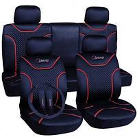 Чехлы для сидений авто полный набор 2+2+5, синий цвет Milex