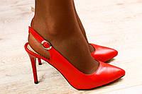 Кожаные красные туфли с открытой пяткой