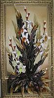 Картины из кожы 91*51см Орхидея белая