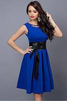 Летнее платье синее с кожаным поясом