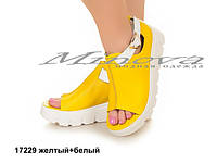 Женские кожаные желтые босоножки на платформе 6,5 см (размеры 36-41)