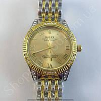 Часы Rolex Oyster Perpetual B14 (113860) женские серебристые с золотым циферблатом в стразах римские цифры