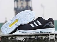 Кроссовки мужские стильные Adidas ZX Flux Black&White (адидас) реплика