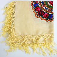 Украинский платок с бахромой бежевый