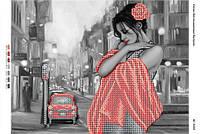 """Схема для частичной вышивки бисером """"Девушка в красном на фоне города"""""""