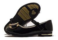 Туфли детские Солнце лаковые черные