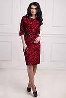 Красивое батальное платье в красном цвете из трикотажного жаккарда с бархатным напылением