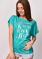 Трикотажная футболка свободного кроя с принтом
