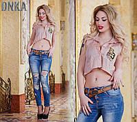Женская летняя котоновая рубашка без рукавов
