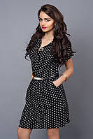 Модное платье-рубашка из креп-шифона в синий горох