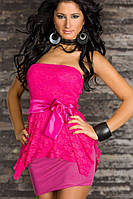 Полная распродажа. Платье цвета розы с атласным пояском L2674-3