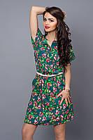 Стильное летнее платье из креп-шифона, декорировано поясом на талии