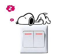 Наклейка на выключатель Собачка 3D декор