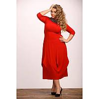 Женское красивое платье Тюльпан цвет красный размер 48-72
