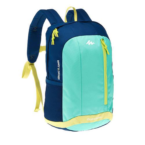 Подростковый качественный городской рюкзак 15 л. Quechua ARPENAZ Junior 2033559 синий с салатовым