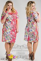 Платье женское нарядное короткий рукав стрейч-коттон размеры 48,50,52,54,56,58,60