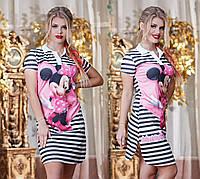 Женское платье в полосочку с Микки Маусом и короткими рукавами