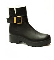 Кожанные ботинки с небольшим каблуком