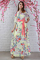 Нарядное длинное платье из креп шифона