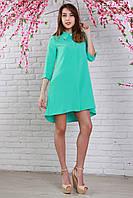 Модное платье-рубашка фасона трапеция с кармашками в боковых швах