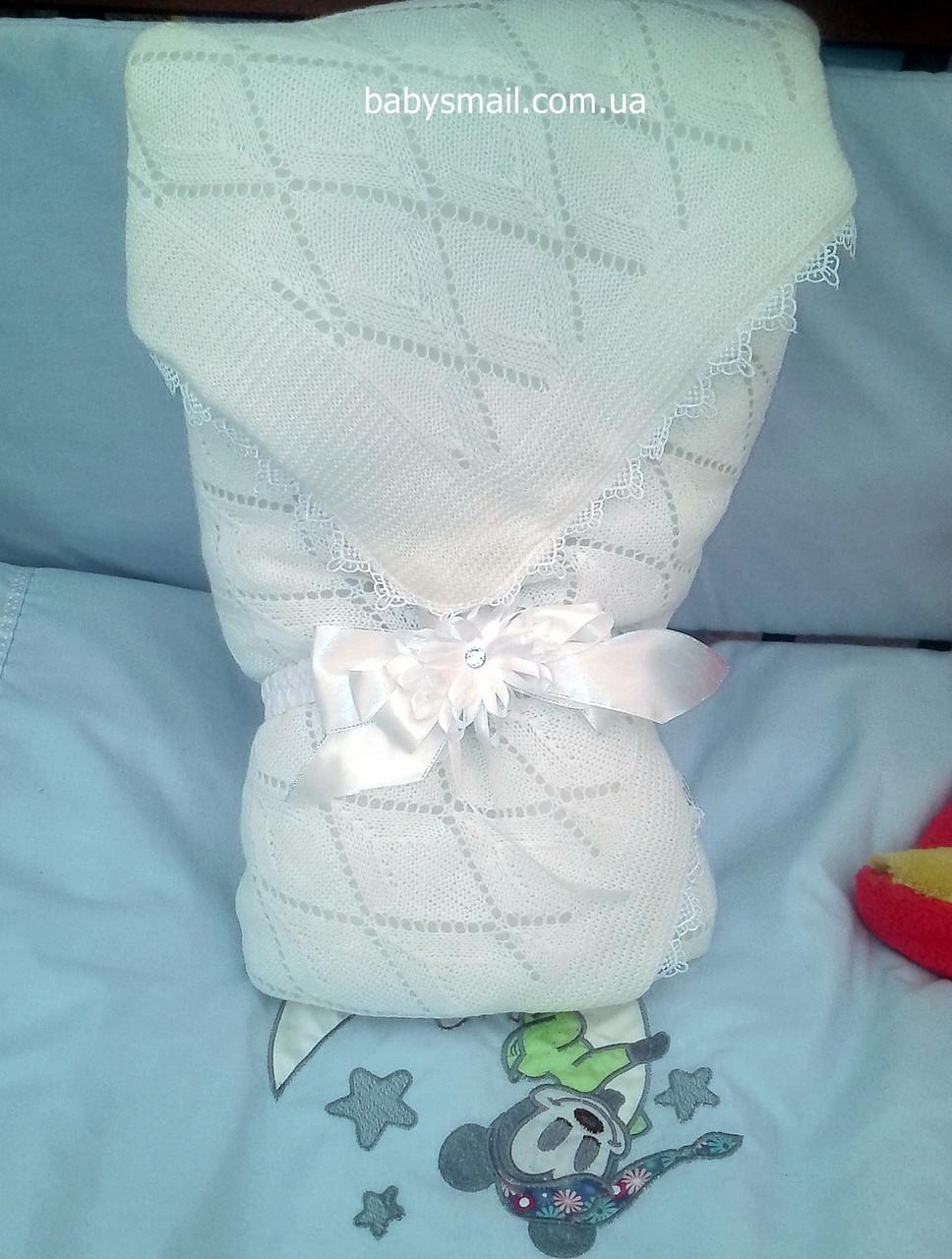 Вязаный плед на выписку для новорожденных своими руками