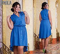 Легкое летнее платье с удлиненной сзади юбкой