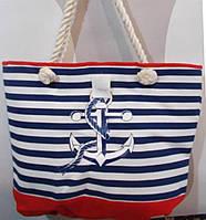 Пляжная сумка в синюю полоску с красной отделкой