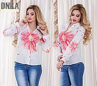 Женская яркая креп-шифоновая рубашка с длинными рукавами